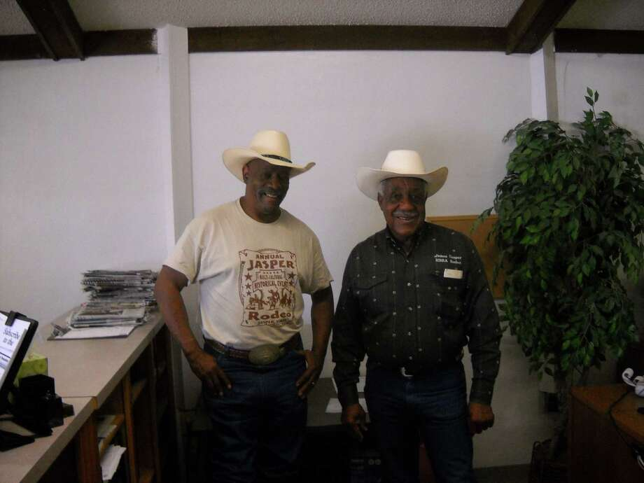 Aaron Allen, Rodeo Coordinator and James Hooper Rodeo Promoter preparing for the Multi-cultural rodeo on June 28th. Photo by Jeff Reedy
