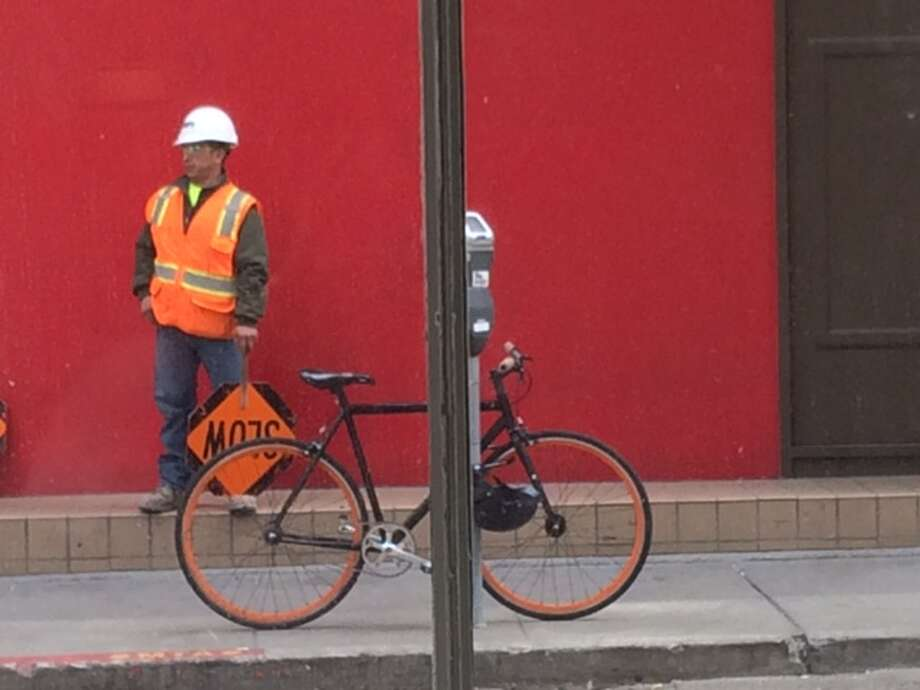 Construction worker takes a break, Natoma at Second Street Photo: Leah Garchik