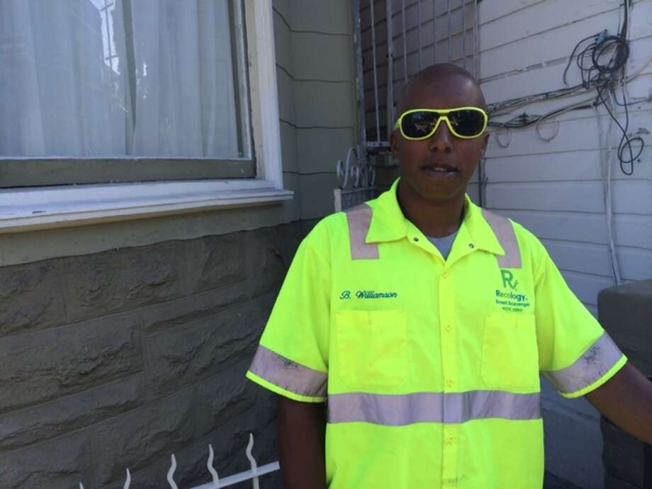 Recology man says he hunted a long time for shades to match his shirt Photo: Leah Garchik