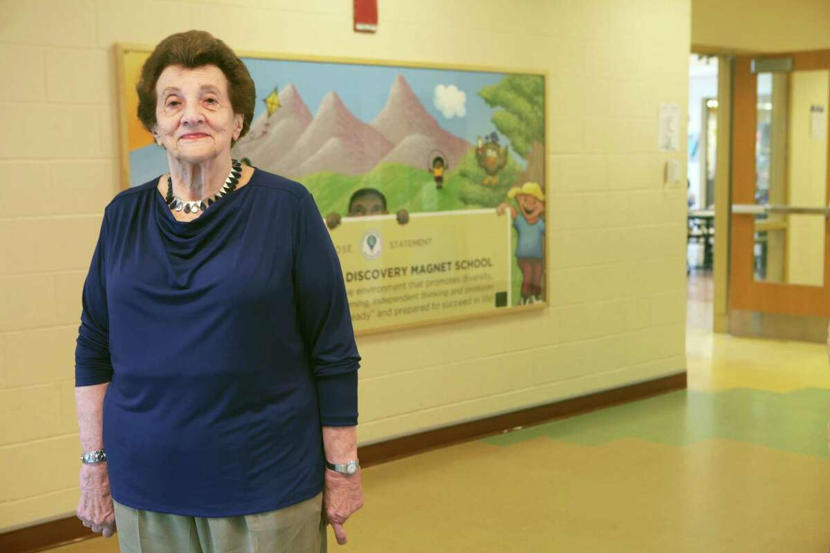 Claire Gold stands in the hallway of the Discovery Magnet School in Bridgeport, Conn. on Monday June 23, 2014. She is a former Westport schools superintendent and was recently honored by the Bridgeport Public Education Fund as an outstanding visionary.