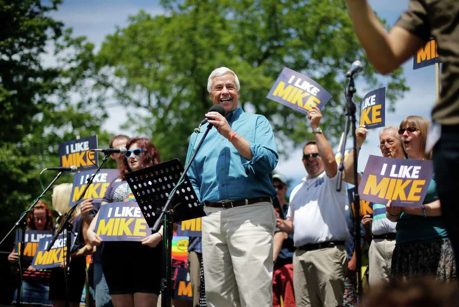 Portland, MaineU.S. Rep. Mike Michaud, a Democratic candidate for governor, speaks at a rally after the Portland Pride Parade, Saturday, June 21, 2014, in Portland, Maine. Gay rights activists around the country are eyeing the Maine's governor's race as a chance to make history. Michaud would become the first openly gay candidate to become governor if he unseats vulnerable Republican Gov. Paul LePage in November.   Photo: Robert F. Bukaty, Associated Press / AP