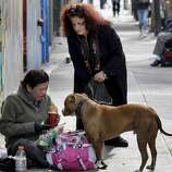 Angela Alioto watches a homeless person feed her dog in the Tenderloin. Ten years after the Care Not Cash program in San Francisco, Calif. went into effect, Angela Alioto reflects on the progress to end homelessness.
