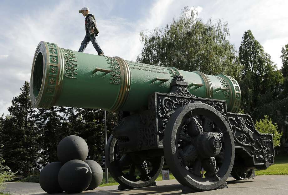 Russian big shot: Despite a cease-fire, pro-Russian separatists roll out a big gun in the eastern Ukrainian city of Donetsk. (The cannon is a copy of the Moscow's Tsar Cannon.) Photo: Dmitry Lovetsky, Associated Press