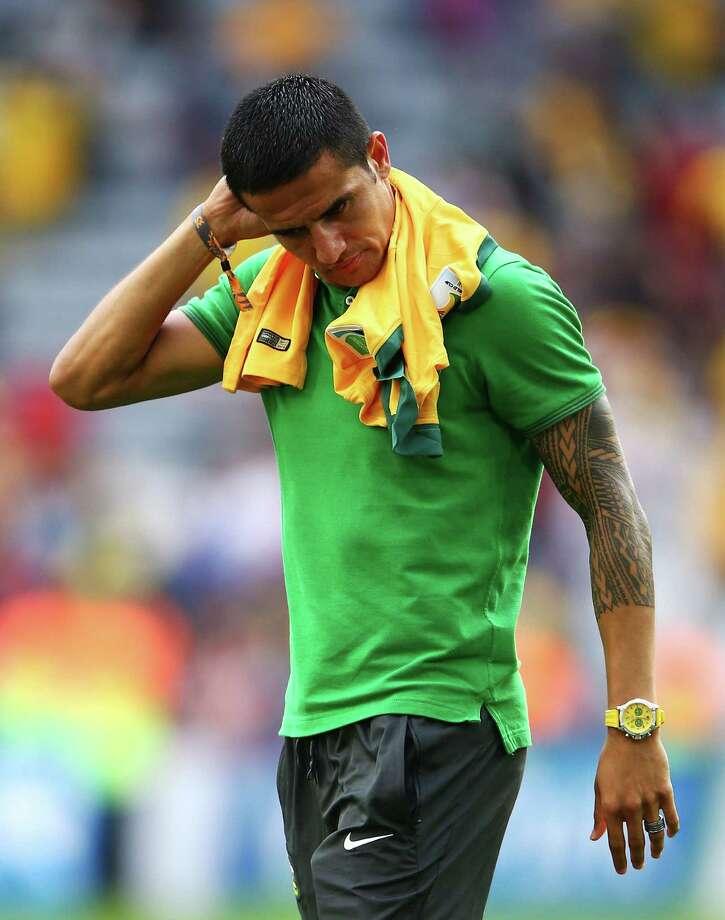 Player: Tim CahillGame: Australia vs. GermanyOffense: Reckless challenge on German midfielder Bastian Schweinsteiger Photo: Ian Walton, Getty Images / 2014 Getty Images