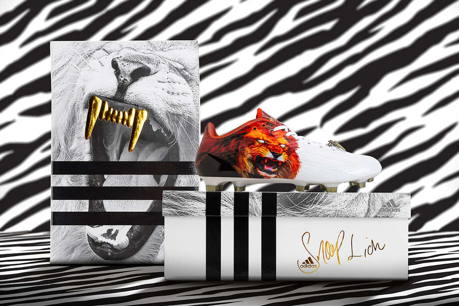 Rapper and actor Snoop Dogg recently sent football players at Texas A&M a few pairs of new football cleats he's helped design.  According to Adidas the Adizero 5-Star Snoop Lion cleats, which feature a ferocious lion on the side don't officially hit store shelves in Los Angeles until June 27. Photo: Adidas