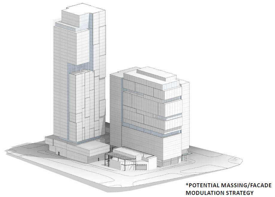 A potential design for Vulcan's proposed development at the northwest corner of Westlake Avenue North and Denny Way is shown in this early design guidance image. Photo: Vulcan, ZGF Architects, Ankrom Moisan Architects