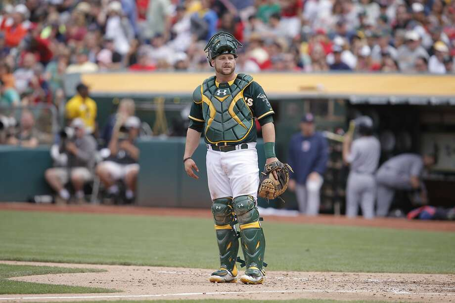 A's Stephen Vogt, (21) came in as the catcher late in the game, as the Oakland Athletics take on the Boston Red Sox at the O.co Coliseum, in Oakland Calif. on Saturday June 21, 2014. Photo: Michael Macor, The Chronicle