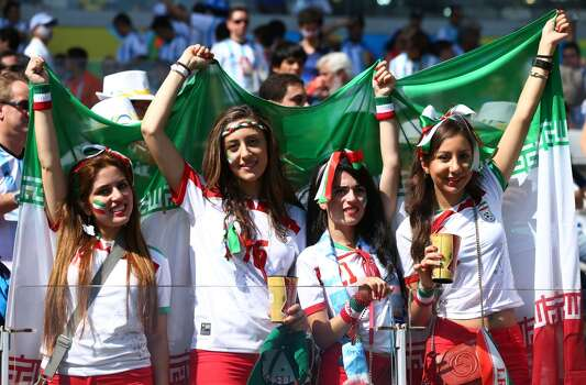 BELO HORIZONTE, BRAZIL - JUNE 21:  Iran fans cheer during the 2014 FIFA World Cup Brazil Group F match between Argentina and Iran at Estadio Mineirao on June 21, 2014 in Belo Horizonte, Brazil.  (Photo by Jeff Gross/Getty Images) Photo: Getty Images
