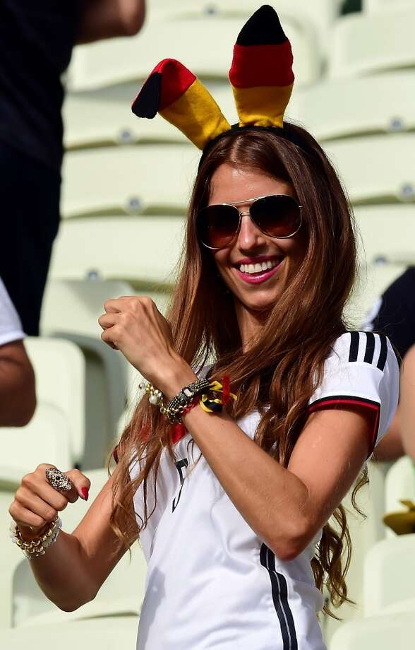 A German fan dances before the start of the Group G football match between Germany and Ghana at the Castelao Stadium in Fortaleza during the 2014 FIFA World Cup on June 21, 2014. AFP PHOTO / JAVIER SORIANO        (Photo credit should read JAVIER SORIANO/AFP/Getty Images) Photo: AFP/Getty Images