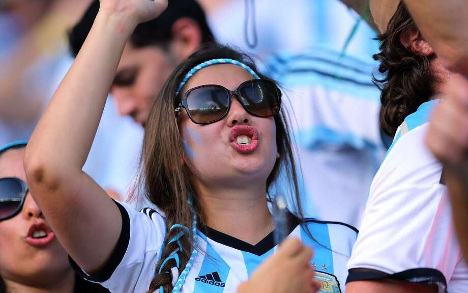 BELO HORIZONTE, BRAZIL - JUNE 21: An Argentina fan during the 2014 FIFA World Cup Brazil Group F match between Argentina and Iran at Estadio Mineirao on June 21, 2014 in Belo Horizonte, Brazil. (Photo by Amin Mohammad Jamali/Getty Images) Photo: Getty Images