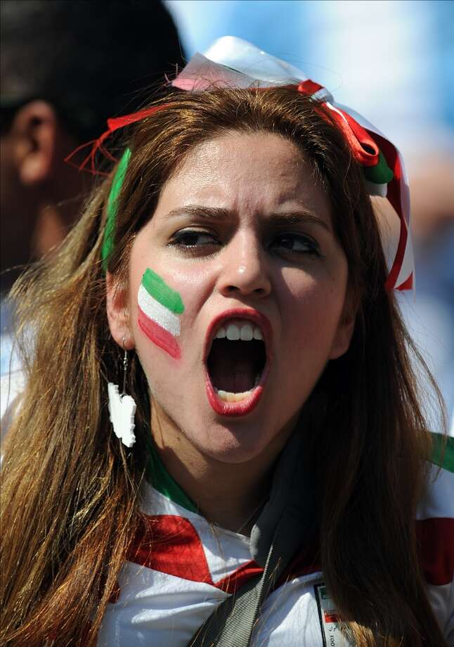 BELO HORIZONTE, BRAZIL - JUNE 21: An Iran fan supports her team during the 2014 FIFA World Cup Brazil Group F match between Argentina and Iran at Estadio Mineirao on June 21, 2014 in Belo Horizonte, Brazil.  (Photo by Chris Brunskill Ltd/Getty Images) Photo: Getty Images