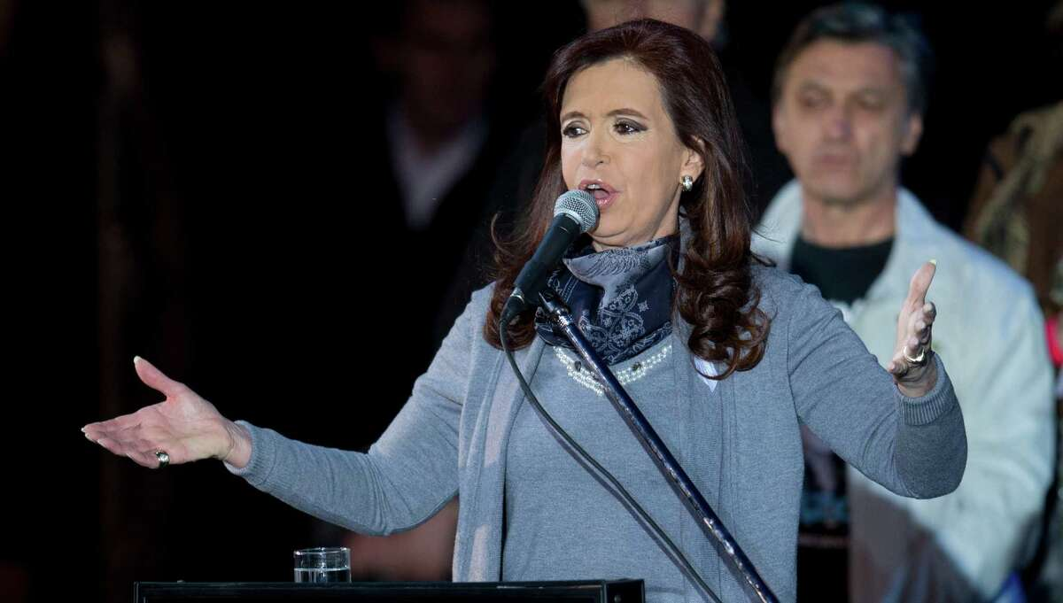 FILE - In this May 25, 2014 file photo, Argentina?'s President Cristina Fernandez talks to crowds assembled at Plaza de Mayo to celebrate the May 25 Holiday in Buenos Aires, Argentina. (AP Photo/Natacha Pisarenko, File) ORG XMIT: NYBZ228
