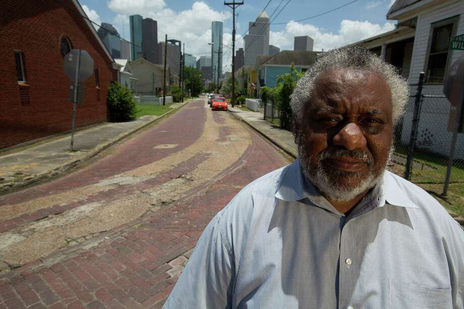 "Darrell Patterson president of the Freedmen's Town Association, said the City needs to keep the current brick streets in the Fourth Ward intact and put the utilities under the sidewalks on Andrews near Wilson Thursday, June 19, 2014, in Houston.  ""We are trying to preserve our history, culture and heritage,"" Patterson said. Photo: Johnny Hanson, Houston Chronicle / © 2014  Houston Chronicle"
