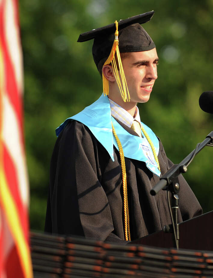 Valedictorian John Hunter delivers his address during at the Shelton High School Graduation in Shelton, Conn. on Monday, June 23, 2014. Photo: Brian A. Pounds / Connecticut Post