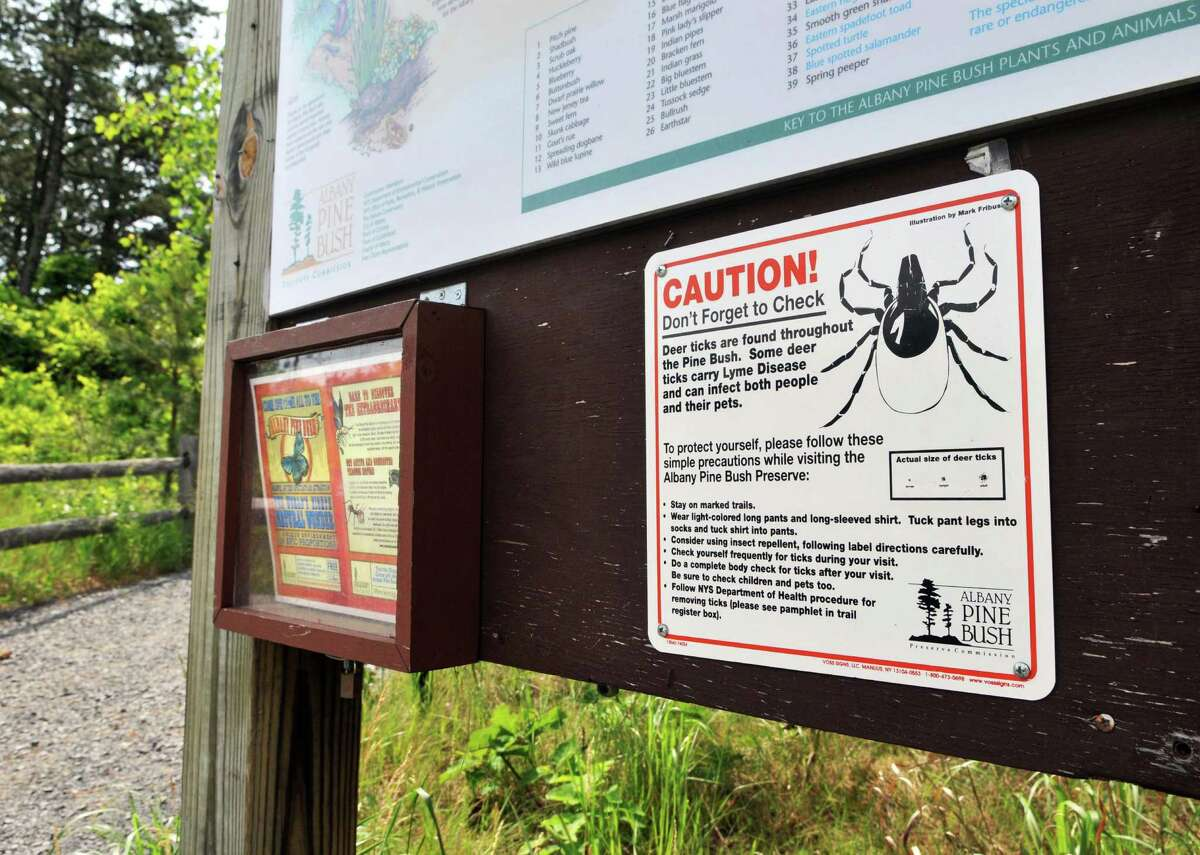 A signs warning of the danger of deer ticks at a trailhead at the Pine Bush Visitors Center Wednesday, June 15, 2011, in Albany, N.Y. (John Carl D'Annibale / Times Union archive)