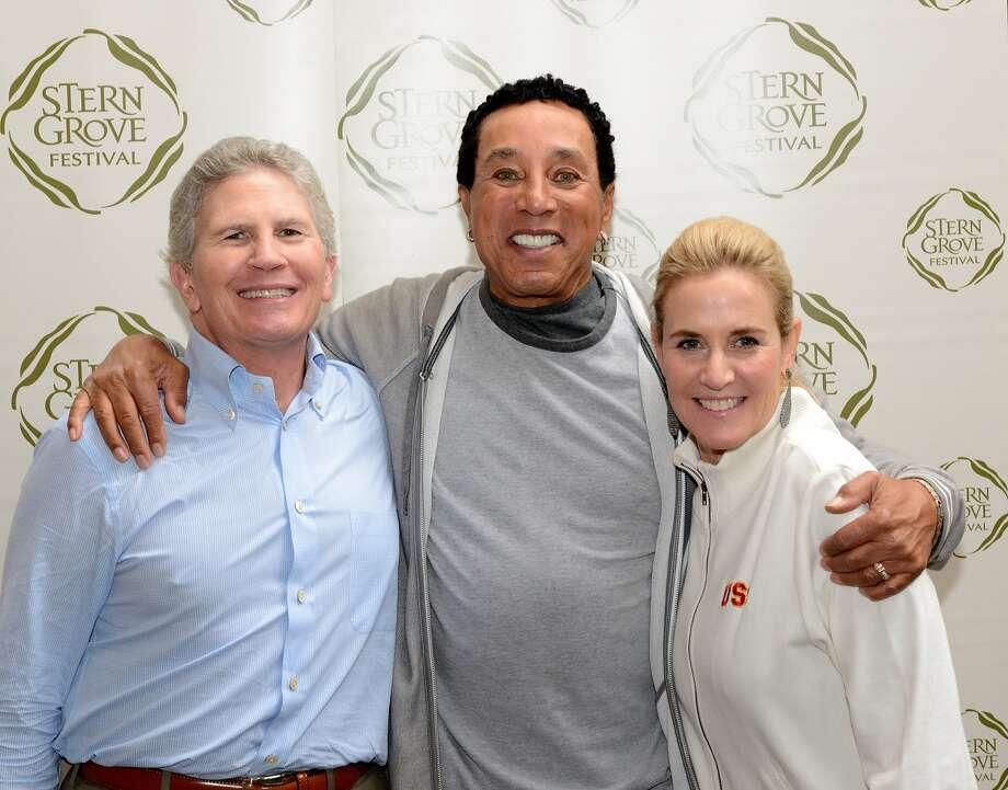 Douglas Goldman (left) with Smokey Robinson and Goldman's wife, Lisa Goldman. Photo: Scott Wall.