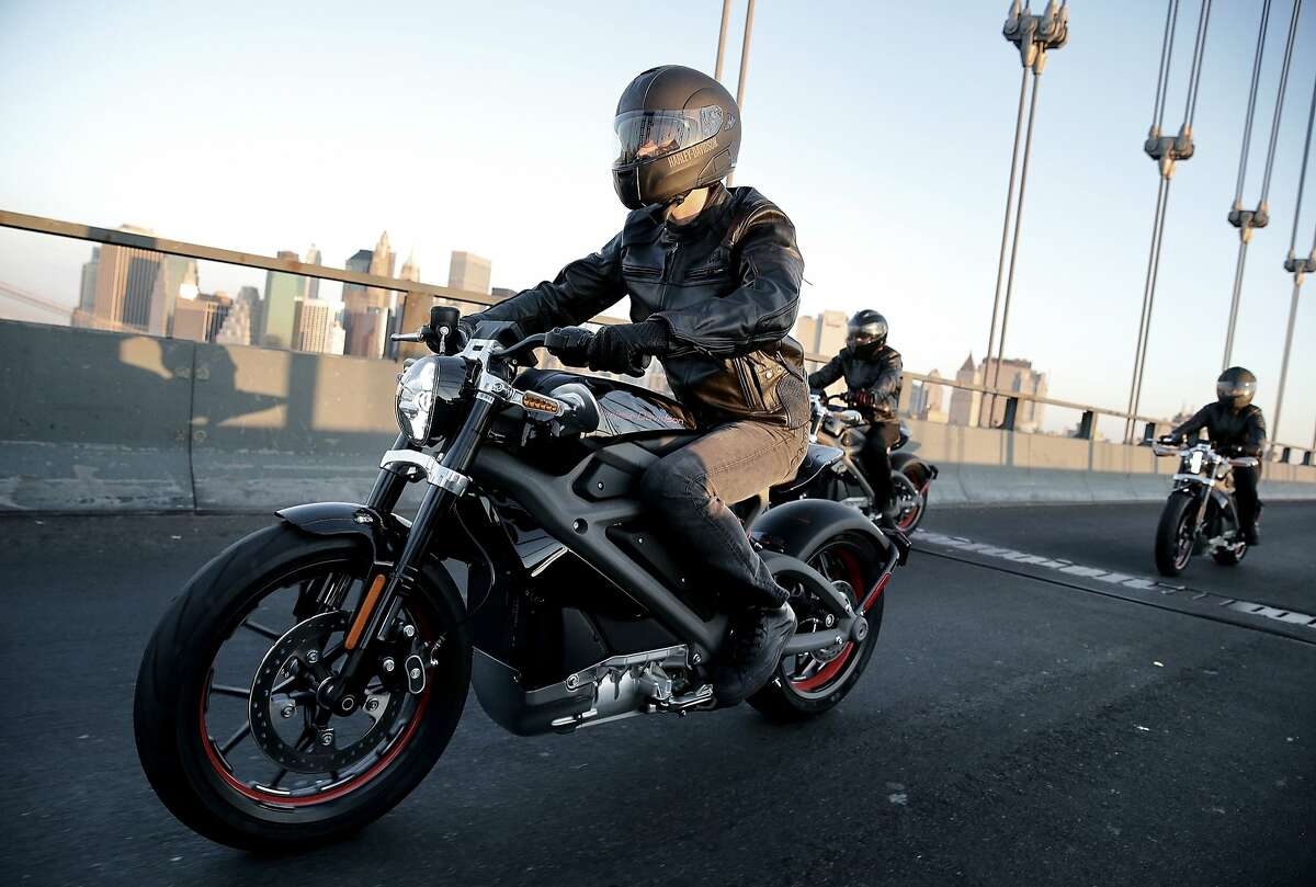 Harley-Davidson riders reveal Project LiveWire, the first electric Harley-Davidson motorcycle during a special ride across the iconic Manhattan Bridge on June 23, 2014 in New York City. he Livewire - which the company stresses is not meant for future production - has 74 horsepower and a top speed of 92 miles per hour.H-D isn't the first company to make an electric motorcycle, but most other e-motorcycle are made by small manufacturers, not main-stream producers.