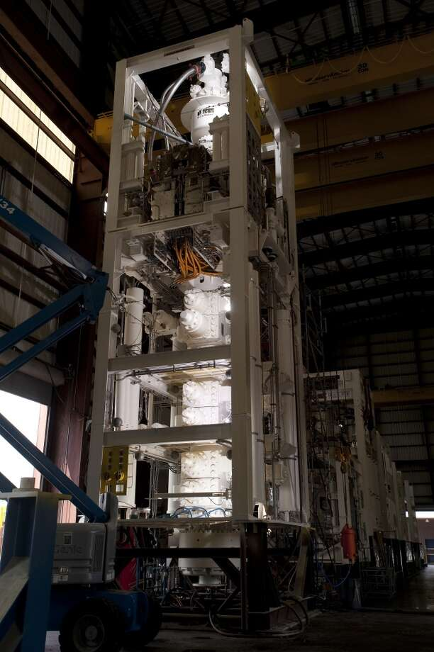 A completed 15,000 psi deep-water blowout preventer stack is shown at the GE Oil & Gas Deepwater Assembly facility in Houston. Current BOP stacks can weigh up to 900,000 pounds. Photo: GE Oil & Gas