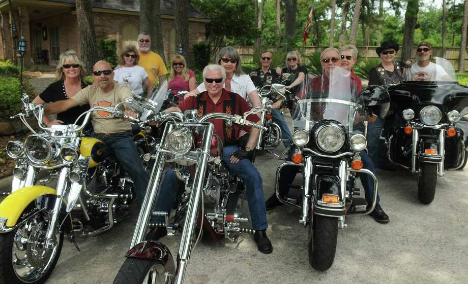 Members of the Lake Houston Harley Riders gather in Kingwood. For more than 20 years, the group, consisting of Harley-Davidson motorcycle riders and their spouses have been meeting at Skeeter's Mesquite Grill on West Lake Houston Parkway. Photo: Jerry Baker, Freelance