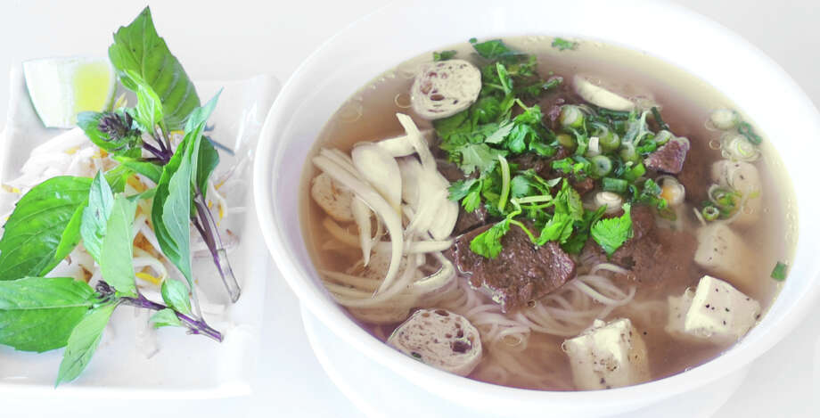 "Fabulous Pho: Aulacese (Vietnamese) Traditional Soup is a vegan-friendly pho served at Houston's Loving Hut restaurant and featured in ""The HappyCow Cookbook."" Photo: Courtesy Photo"