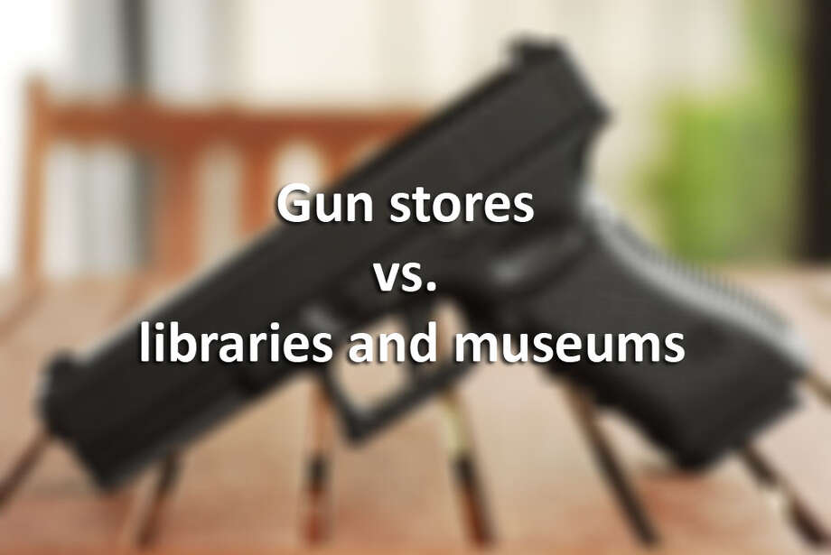 Museum, library and gun retailer counts for counties in the Houston area and other populous counties across the State of Texas. Photo: Photoshop Art