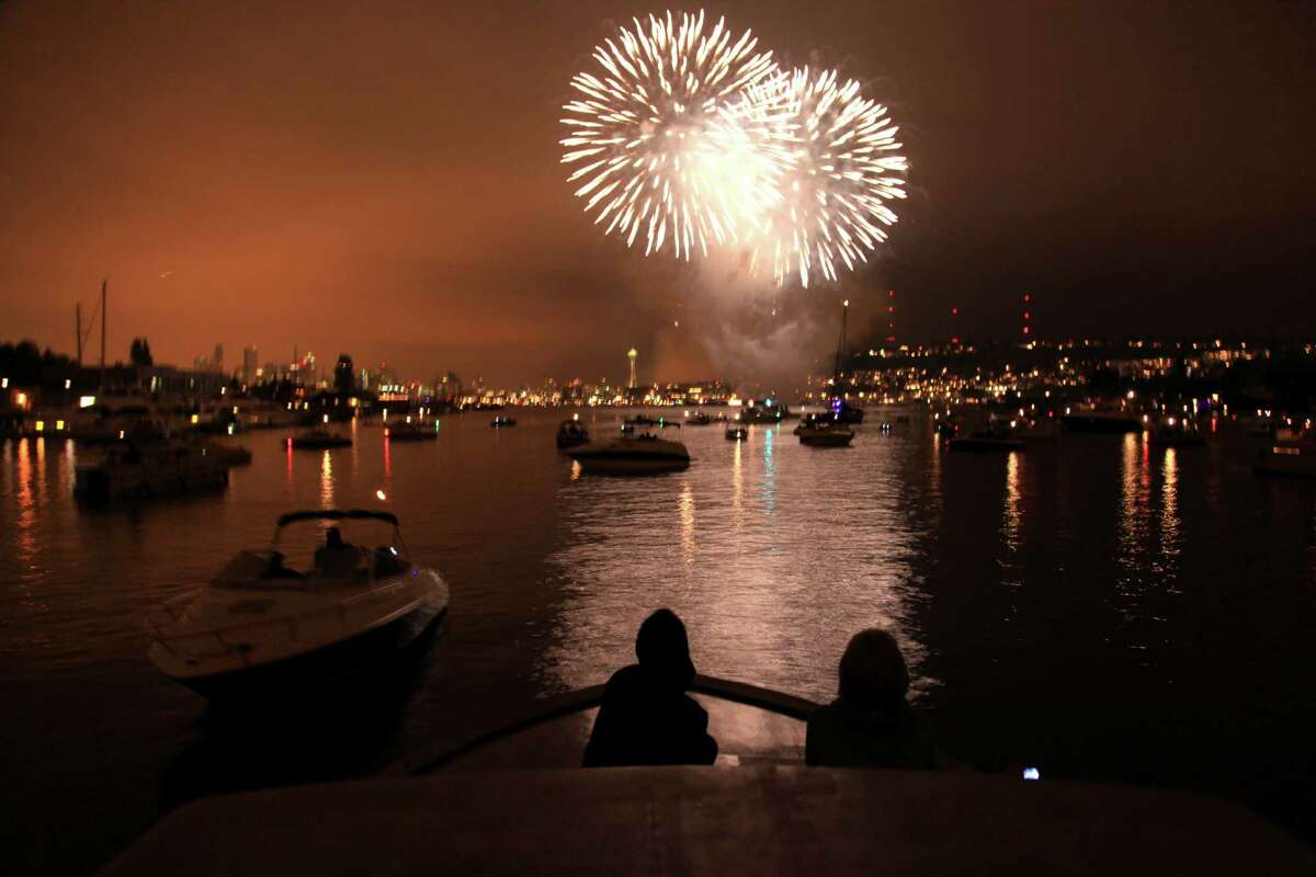 The fireworks over Lake Union are scheduled to start about 10:10 p.m.