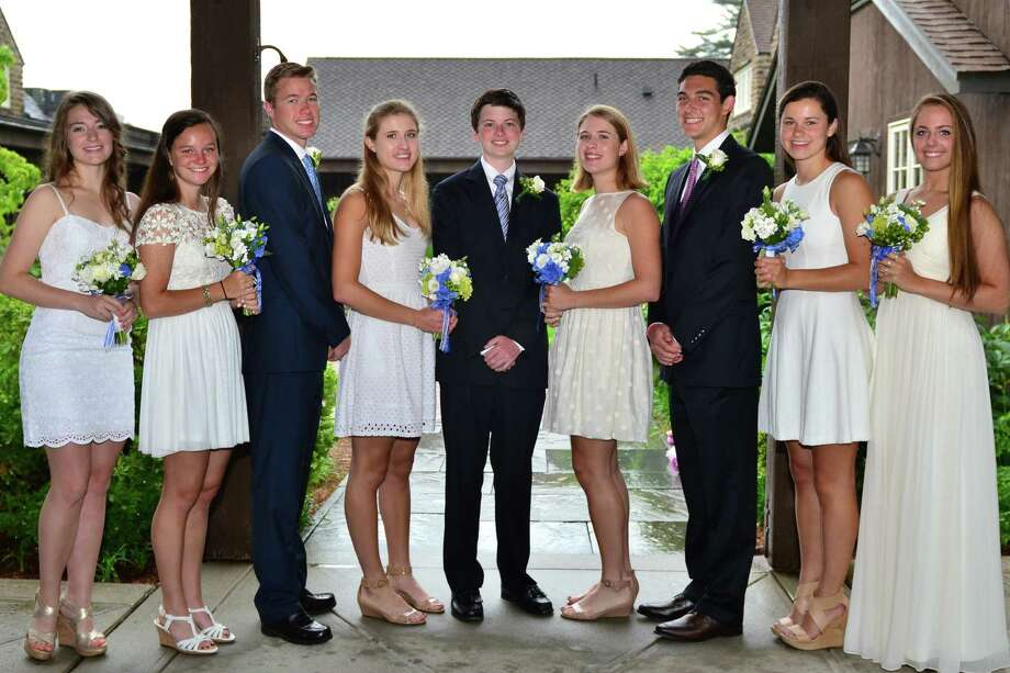 Nine Darien residents recently graduated from Greens Farm Academy. They are, from left, Helen Filanowski, Kaitlin Ball, Arthur Doelp, Joanna Moley, Kevin Walsh, Eliza Moley, Kyle Wolfe, Cole Vanacore and Caroline Frank. Photo: Contributed Photo, Contributed / Darien News