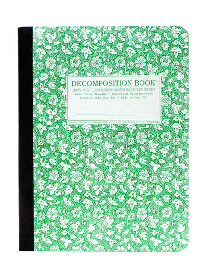 NotebookLike your favorite pad of paper from grade school, but updated in an eye-catching botanical print. It's made with recycled paper, too. Decomposition Book, in Parsley, $8. nybgshop.com.