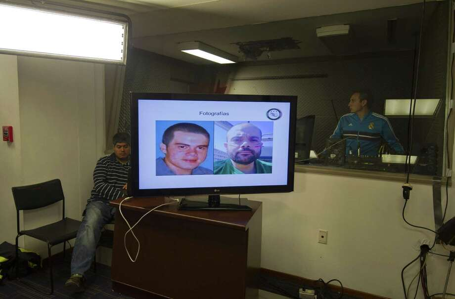 Images of Fernando Sanchez Arellano, the alleged head of the drug cartel Arellano Felix, were displayed during the press conference announcing his detention in Mexico City onTuesday. Photo: ALFREDO ESTRELLA, Staff / AFP