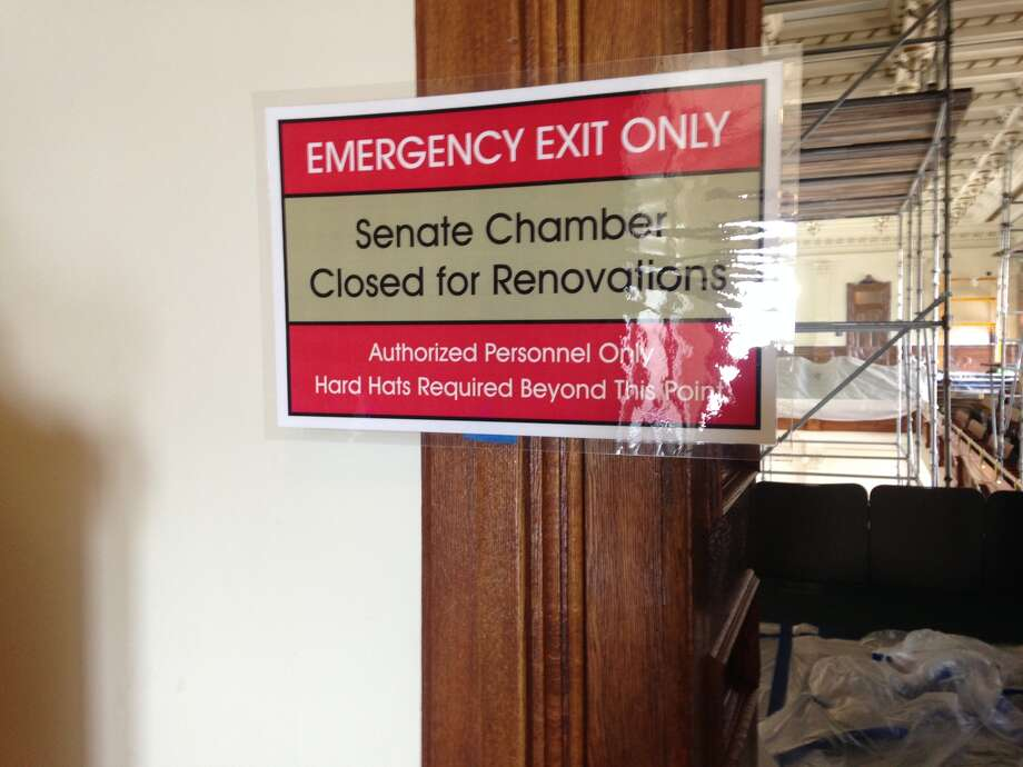 A construction sign outside of the Texas Senate gallery. (Joshua Fechter/San Antonio Express-News)