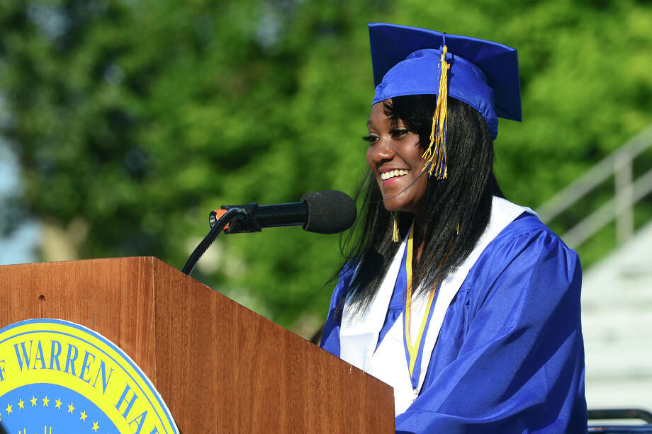 Graduate Mellissa Edwards gives the Valedictorian Address, during Warren Harding High School's 88th Annual Commencement Ceremony held at Central High School's Kennedy Stadium in Bridgeport, Conn. on Tuesday June 24, 2014. Photo: Christian Abraham / Connecticut Post