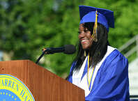 Graduate Mellissa Edwards gives the Valedictorian Address, during Warren Harding High School's 88th Annual Commencement Ceremony held at Central High School's Kennedy Stadium in Bridgeport, Conn. on Tuesday June 24, 2014.