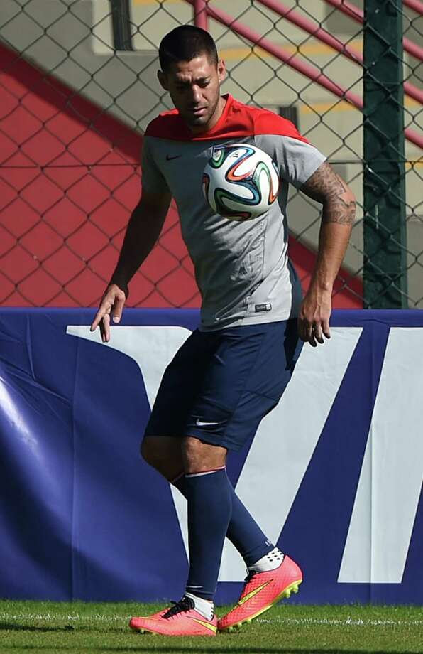 American Clint Dempsey practices in Sao Paulo. The United States and Germany top Group G ahead of Thursday's match between the two. Photo: Eitan Abramovich / AFP / Getty Images / EITAN ABRAMOVICH