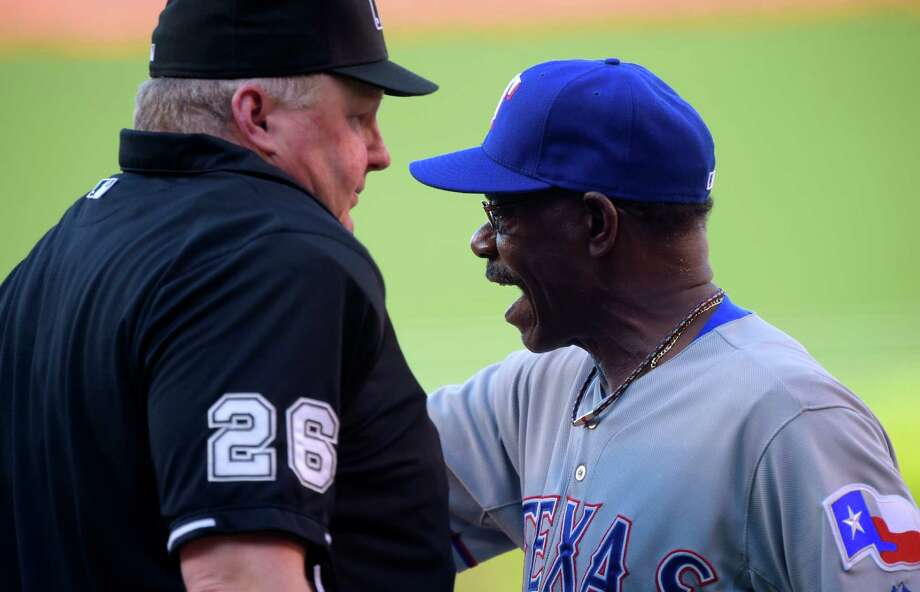 Rangers manager Ron Washington's frustration boiled over Sunday night when he was ejected from a loss tot he Angels in Anaheim. Photo: Mark J. Terrill, STF / AP