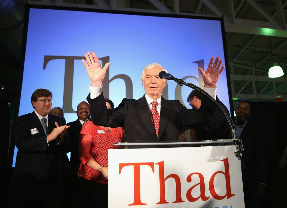 Sen. Thad Cochran, R-Miss., thanks supporters at the Mississippi Children's Museum in Jackson after his narrow win over Tea Party-backed challenger Chris McDaniel in the GOP runoff. Photo: Justin Sullivan, Getty Images