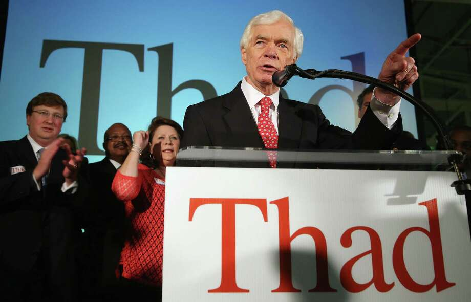 U.S. Sen. Thad Cochran, R-Miss., speaks to supporters at a party in Jackson, Miss., after a narrow victory over tea party-backed Chris McDaniel in the Republican primary runoff. Photo: Justin Sullivan / Getty Images / 2014 Getty Images