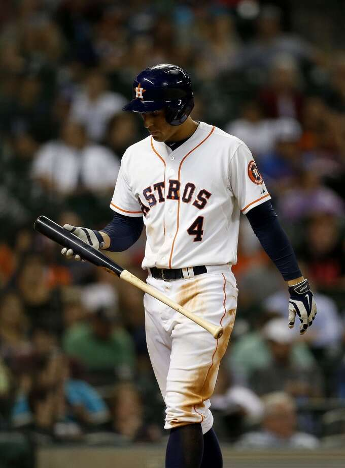 Astros right fielder George Springer (4) strikes out. Photo: Karen Warren, Houston Chronicle