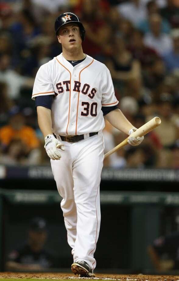 Astros third baseman Matt Dominguez (30) strikes out. Photo: Karen Warren, Houston Chronicle