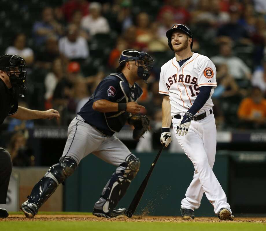 Astros left fielder Robbie Grossman (19) reacts as he strikes out. Photo: Karen Warren, Houston Chronicle