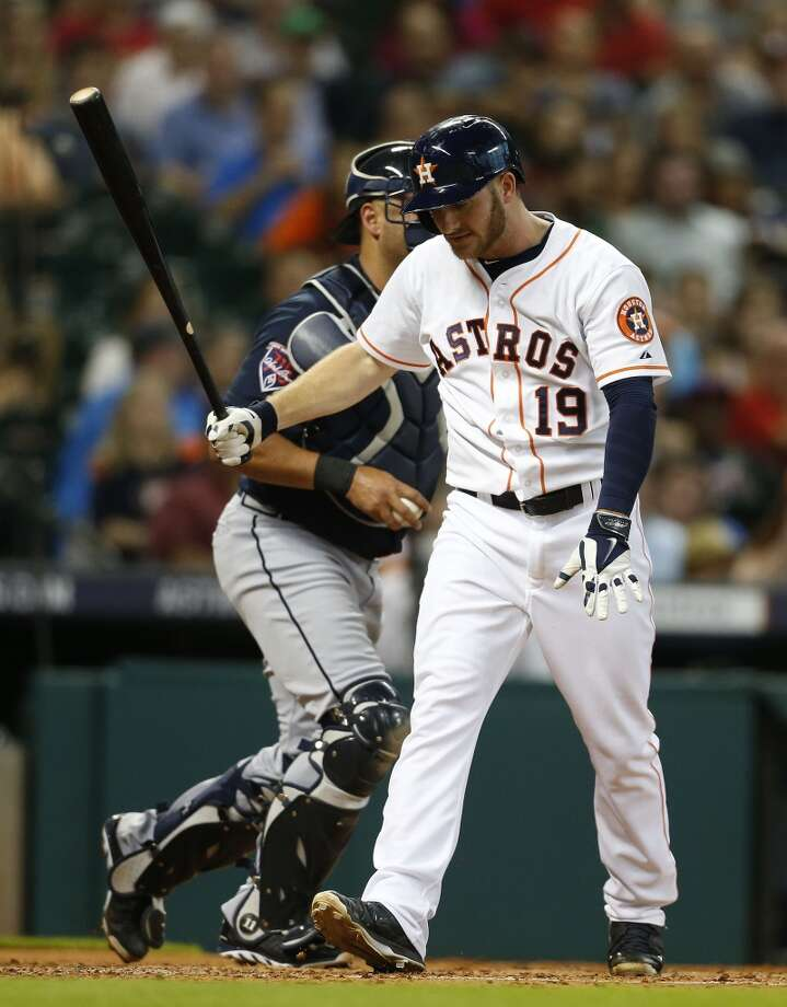 Astros left fielder Robbie Grossman (19) reacts after striking out. Photo: Karen Warren, Houston Chronicle