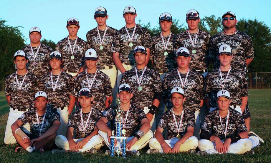 The Westport U15/U16 travel baseball team won a nine-team invitational tournament in Maryland last weekend. Top row left: Coach Pete Doria, Joey Dougherty, Michael Fanning, Ryan Fitton, Robert Stone, Mack Muller, Coach Matt Hennessey. Middle row left: Elliot Poulley, Paul Friezo, George Goldstein, Adam Feuer, Matty Fair, Andrew Matthews.Front low left: Thomas Moy, Sebastien Zeman, Andrew Spee, Max Fiore, Tripp Backus. Photo: Deb Poulley/Contributed Photo / Westport News Contributed