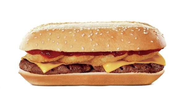 "Extra Long BBQ Cheeseburger from Burger King: Two all-beef patties, two slices of American cheese, four onion rings and barbecue sauce on a toasted sesame seed hoagie bun. Total calories: 590. Fat grams: 28. Sodium: 1,080 mg. Carbs: 62 g. Dietary fiber: 2 g. Manufacturer's suggested retail price: $3.59. What Hoffman says: Burger King is pulling Taco Bell's old trick of creating new menu items with standard fare already in the pantry. Put 'em all together and you've got a unique Extra Long BBQ Cheeseburger. But is it enough to win over Hoffman's taste buds? Find out which item he says is the ""best-tasting thing on the King's menu."""