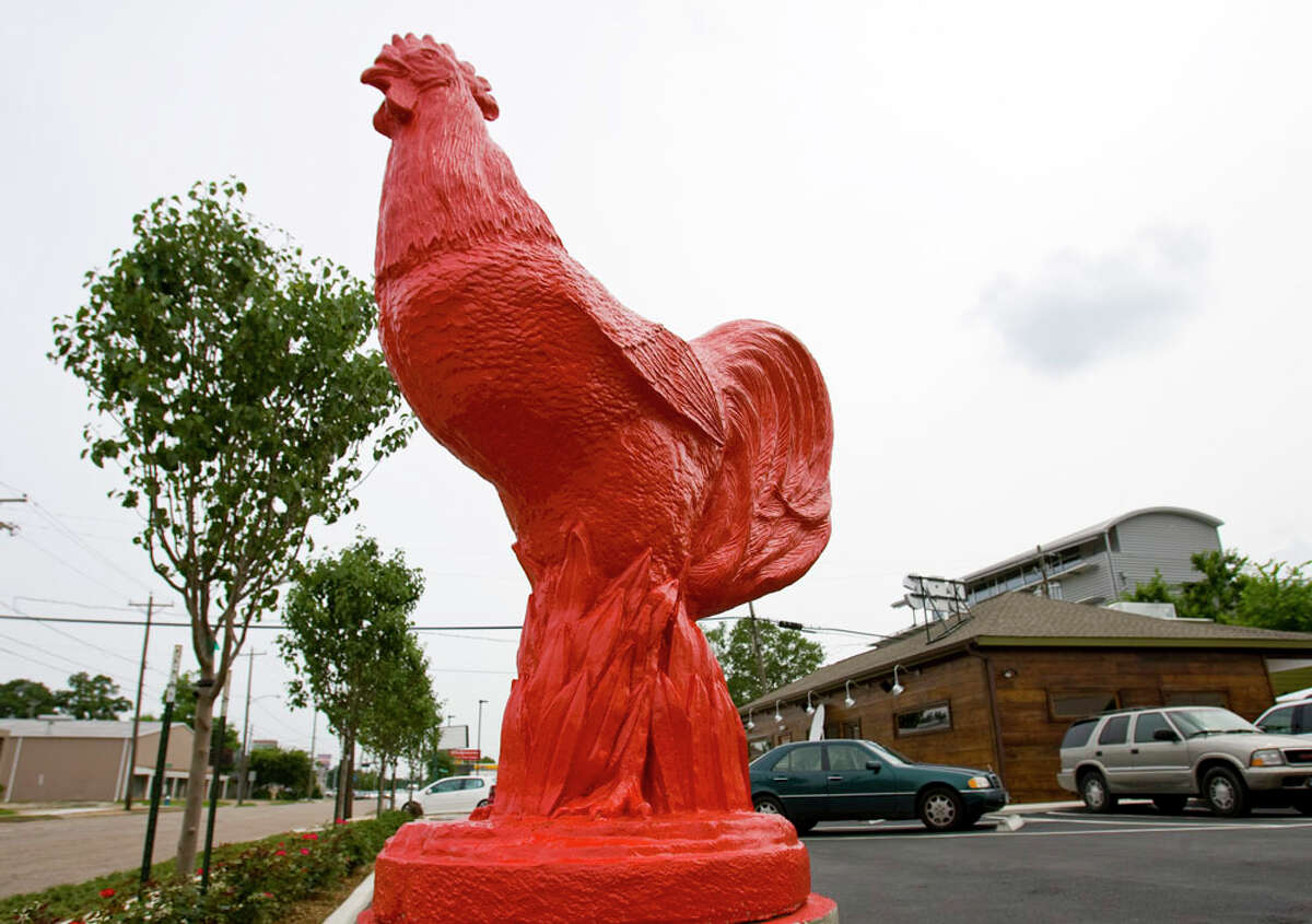 The large red rooster in the parking lot of BRC Gastropub, 519 Shepherd. The restaurant announced it is closing so that its owners, F.E.E.D TX restaruant group can focus on its Liberty Kitchen concepts.