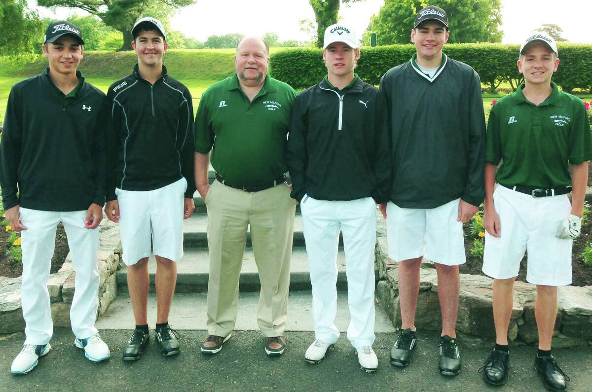 Veteran coach Jim Mullin poses with his Green Wave golf squad at the South-West Conference tournament, May 29, 2014 at Ridgewood Country Club in Danbury. Representing New Milford High School golf that day are, from left to right, Steve Santos, Kyle Poeti, coach Mullin, Cole Case, Tyler Lanza and John Pace.