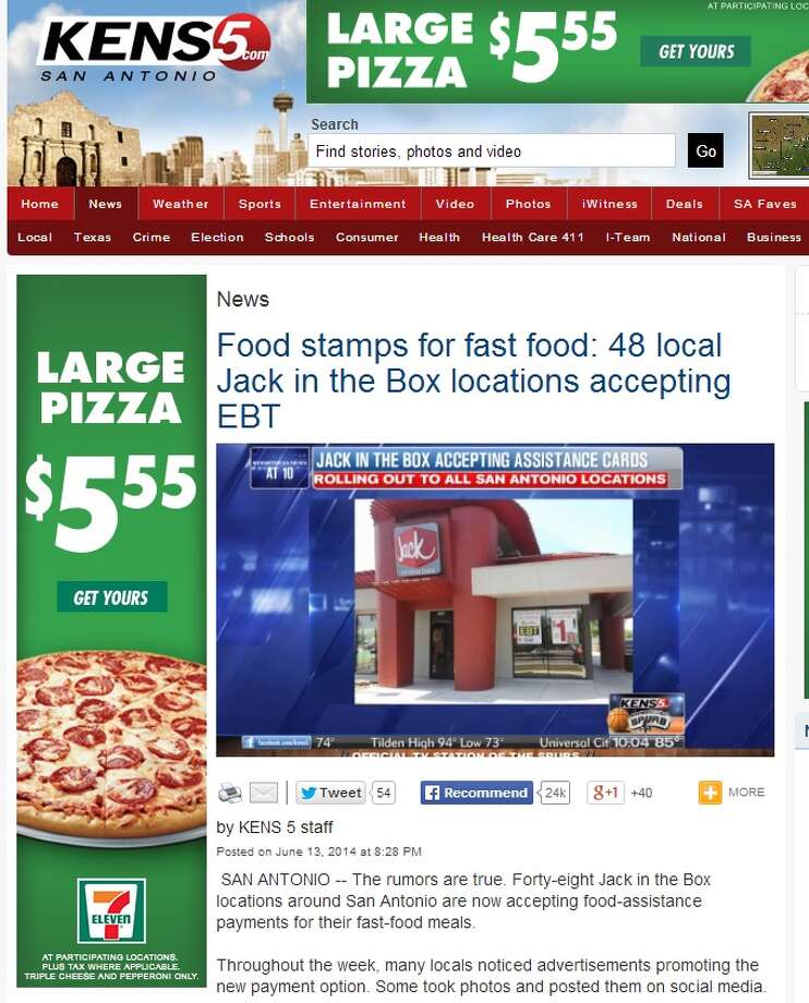 KENS5 article claiming Jack in the Box accepts food stamps. Photo: Courtesy