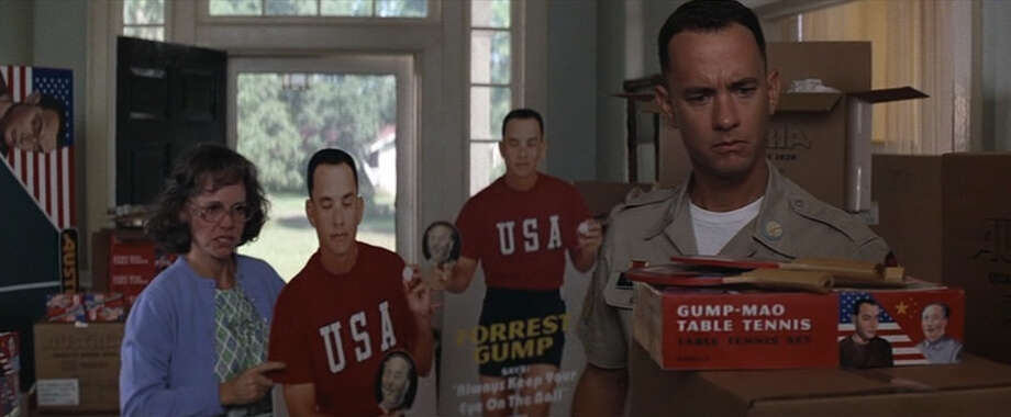 In every picture seen of Forrest in the movie, his eyes are closed. Photo: Paramount Pictures