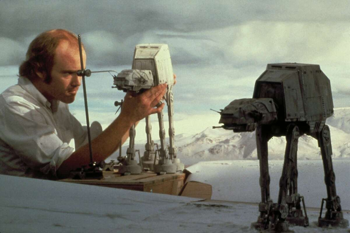 """Inspiration One popular myth about the Star Wars franchise is that the At-At attack vehicles used in """"The Empire Strikes Back"""" were modeled after cranes at the port of Oakland. Lucas has tried repeatedly to shoot this down. The Chronicle's own Peter Hartlaub got the real answer in 2008. Special-effects pioneer Phil Tippett works on animating the AT-AT snow walkers for """"Star Wars"""" using stop motion."""