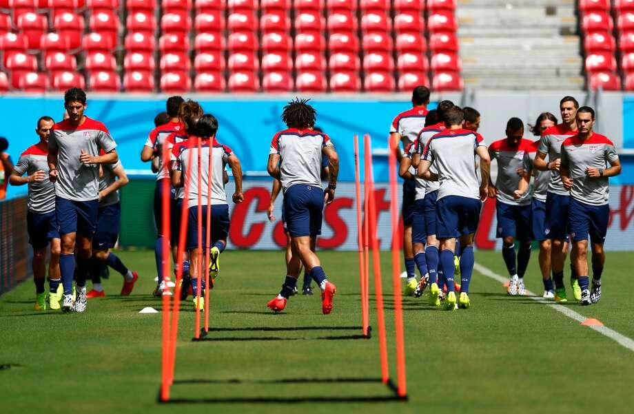 The US Men's National Team works out during training at Arena Pernambuco on June 25, 2014 in Recife, Brazil. Photo: Kevin C. Cox, Getty Images