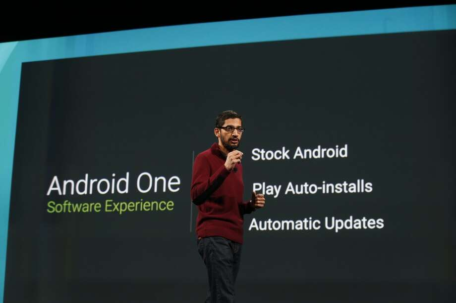 Sundar Pichai, senior vice president of Android, Chrome and Apps, speaks on stage during the Google I/O Developers Conference at Moscone Center on June 25 in San Francisco. The seventh annual Google I/O Developers conference is expected to draw thousands through June 26. Photo: Stephen Lam, Getty Images