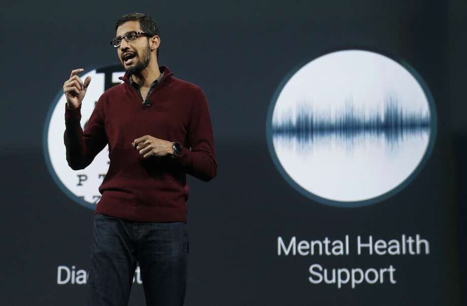 Sundar Pichai, senior vice president of Android, Chrome and Apps, speaks during the keynote presentation. Photo: Jeff Chiu, Associated Press